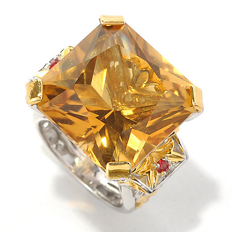 132-596 - Gems en Vogue 22.80ctw Square Zambian Citrine & Orange Sapphire Ring