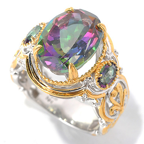 132-597 - Gems en Vogue II 7.54ctw Oval Mystic Topaz Three-Stone Ring