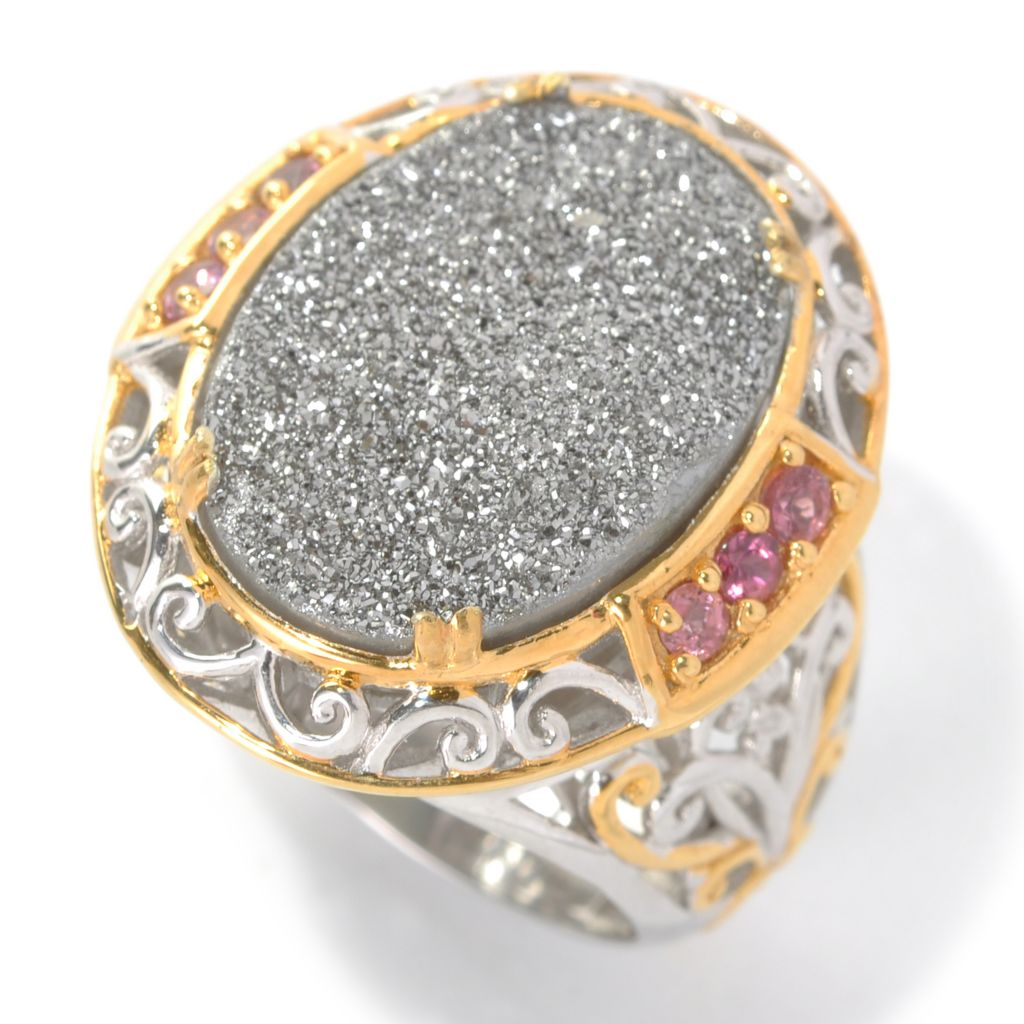132-598 - Gems en Vogue II 18 x 13mm Platinum Drusy & Pink Tourmaline Polished Ring