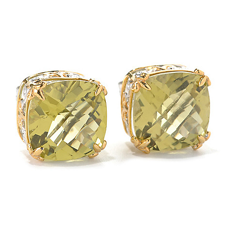 132-600 - Gems en Vogue 12.20ctw Cushion Cut Ouro Verde Stud Earrings