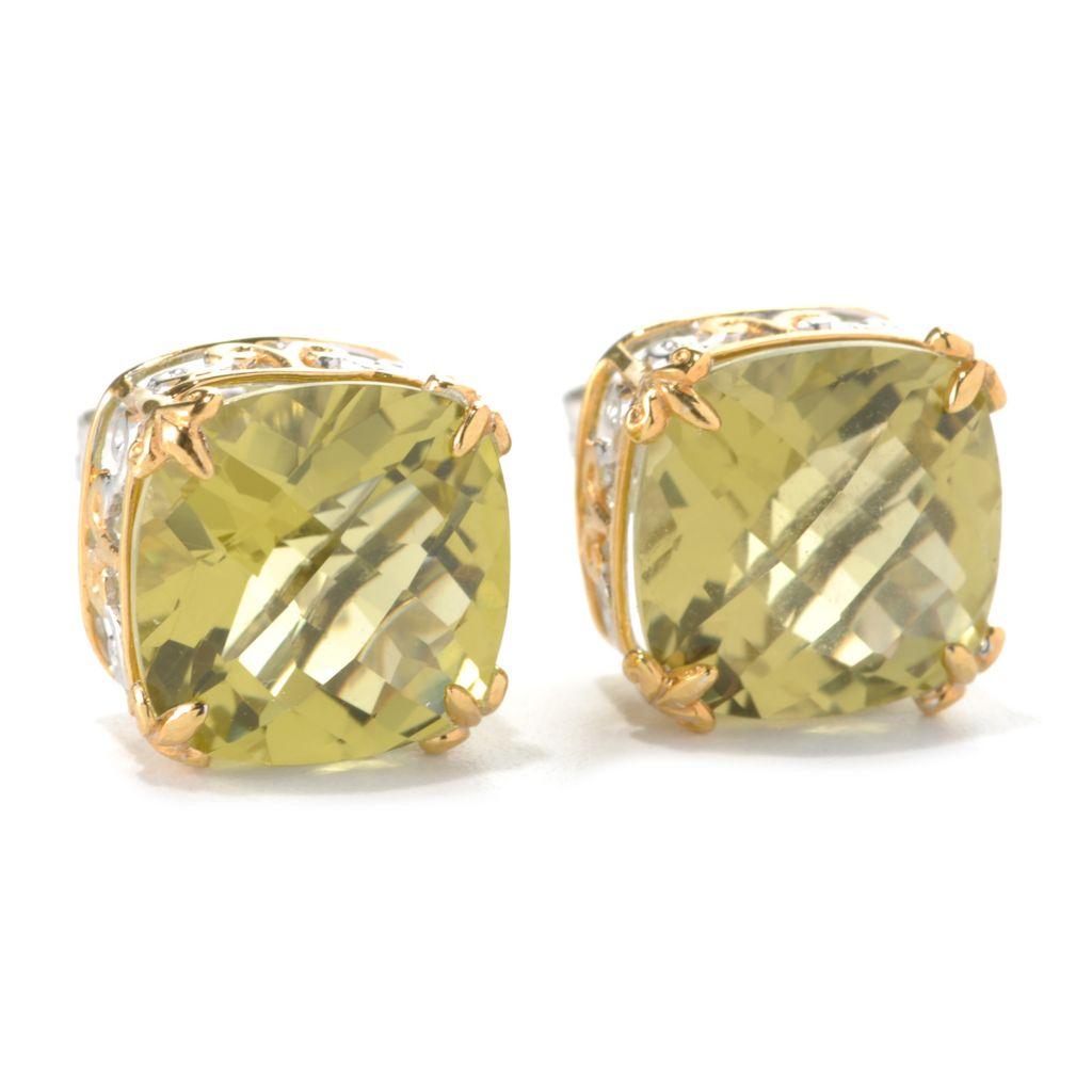 132-600 - Gems en Vogue 12.20ctw Cushion Cut Ouro Verde Stud Earrings