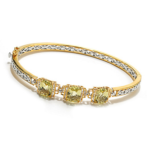132-601 - Gems en Vogue 5.31ctw Ouro Verde Three-Stone Hinged Bangle Bracelet