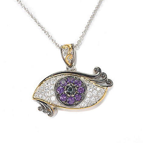 132-602 - Gems en Vogue II 2.40ctw Amethyst, White Zircon & Black Spinel Eye Pendant w/ Chain