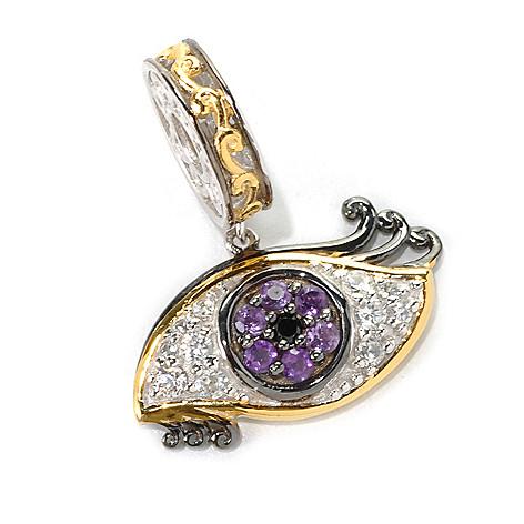 132-603 - Gems en Vogue Amethyst, White Zircon & Black Spinel Eye Charm