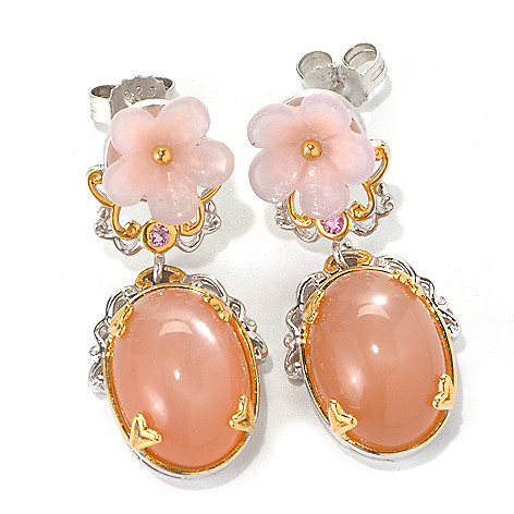132-604 - Gems en Vogue Peach Moonstone, Carved Pink Agate Flower & Pink Sapphire Earrings