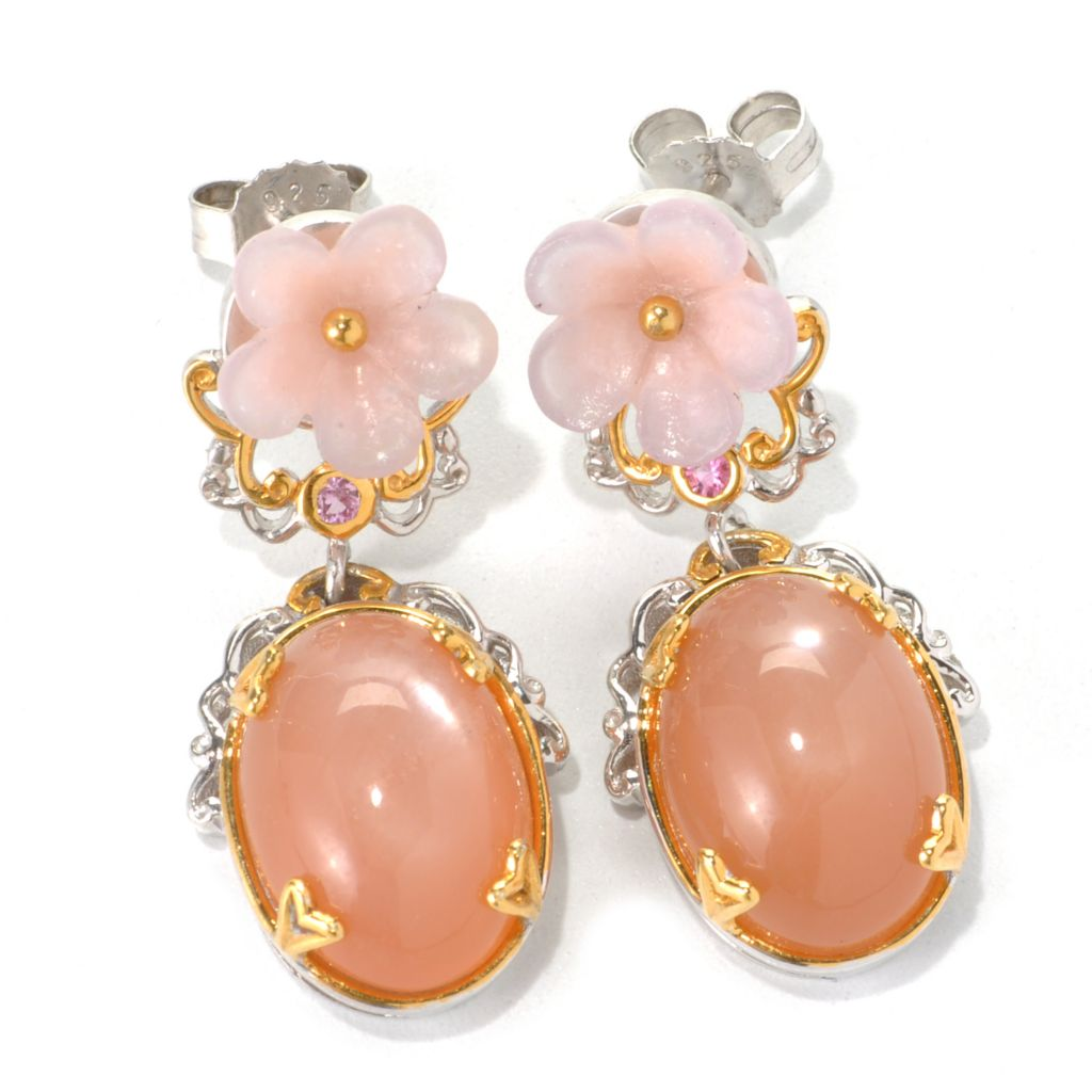 132-604 - Gems en Vogue Peach Moonstone, Carved Pink Agate Flower & Pink Sapphire Earrings
