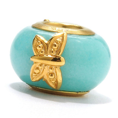 132-606 - Gems en Vogue Amazonite Frog & Butterfly Slide-on Charm