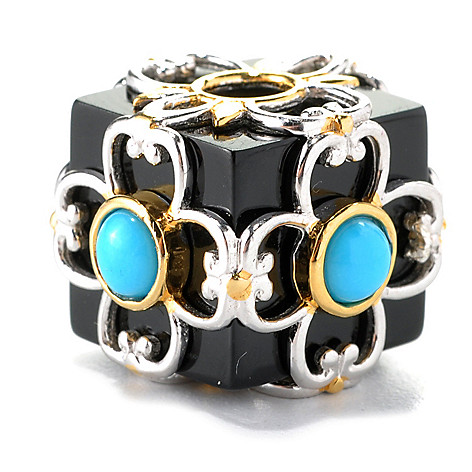 132-608 - Gems en Vogue Black Onyx & Sleeping Beauty Turquoise Cube Slide-on Charm