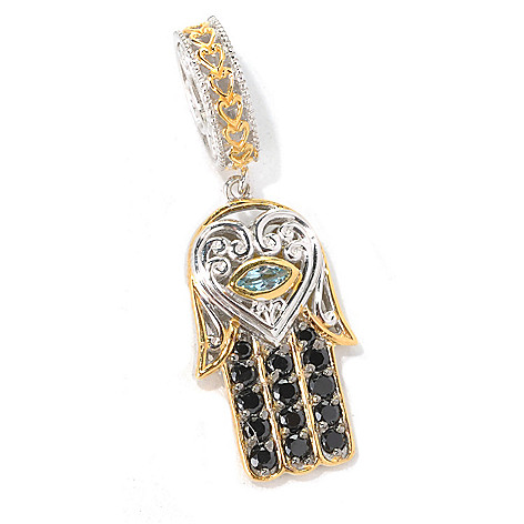 132-609 - Gems en Vogue II Black Spinel & Swiss Blue Topaz Hamsa Drop Charm