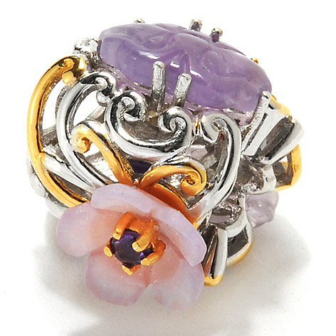 132-611 - Gems en Vogue II Carved Amethyst, Mother-of-Pearl & Pink Sapphire Flower Charm