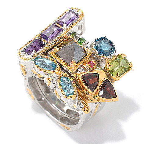 132-616 - Gems en Vogue II Set of Four 5.22ctw Multi Gemstone ''Vegas Stack II'' Rings