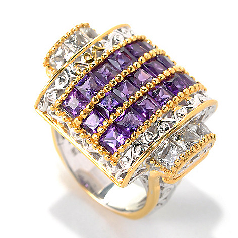 132-618 - Gems en Vogue II 3.42ctw Princess Cut African Amethyst & White Topaz Ring