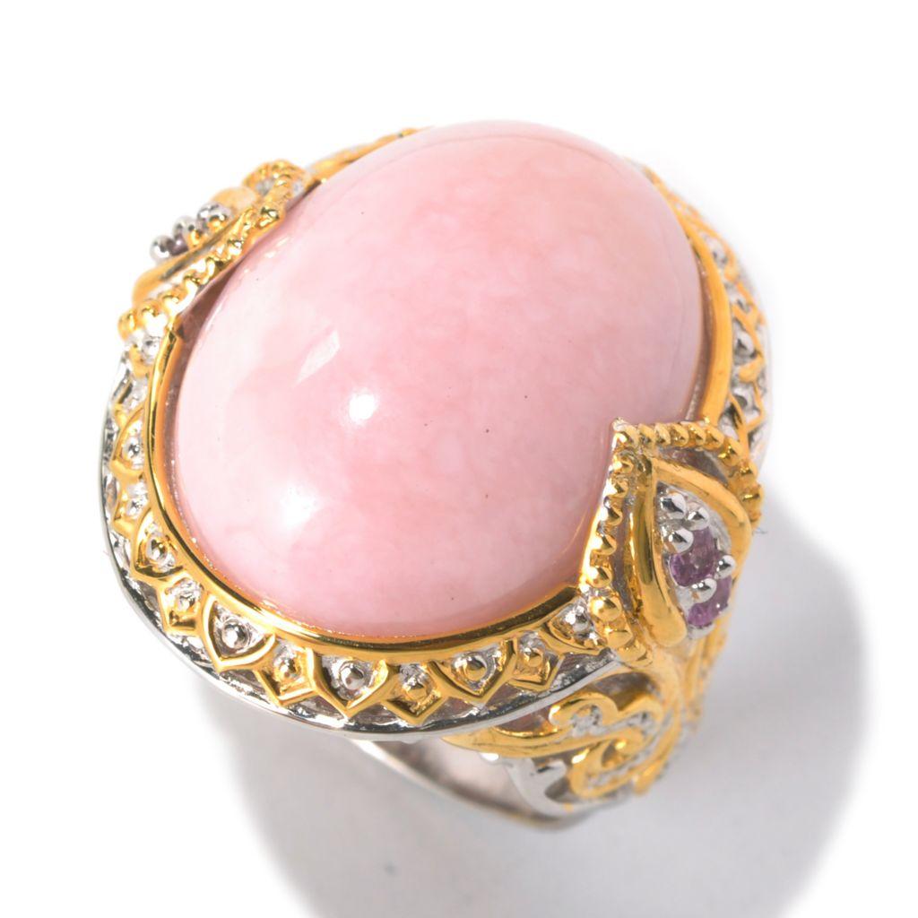 132-625 - Gems en Vogue 20 x 15mm Pink Opal & Pink Sapphire Ring