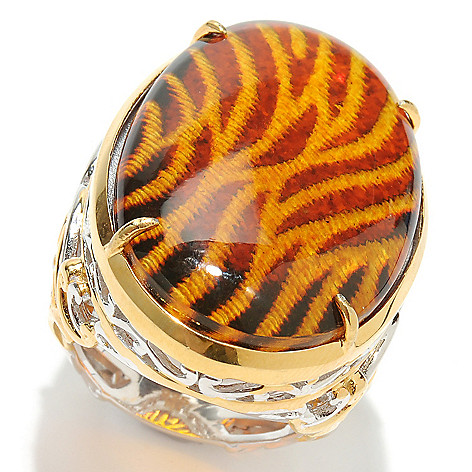 132-631 - Gems en Vogue II 33x20mm Carved Amber Animal Print Intaglio & Orange Sapphire Ring
