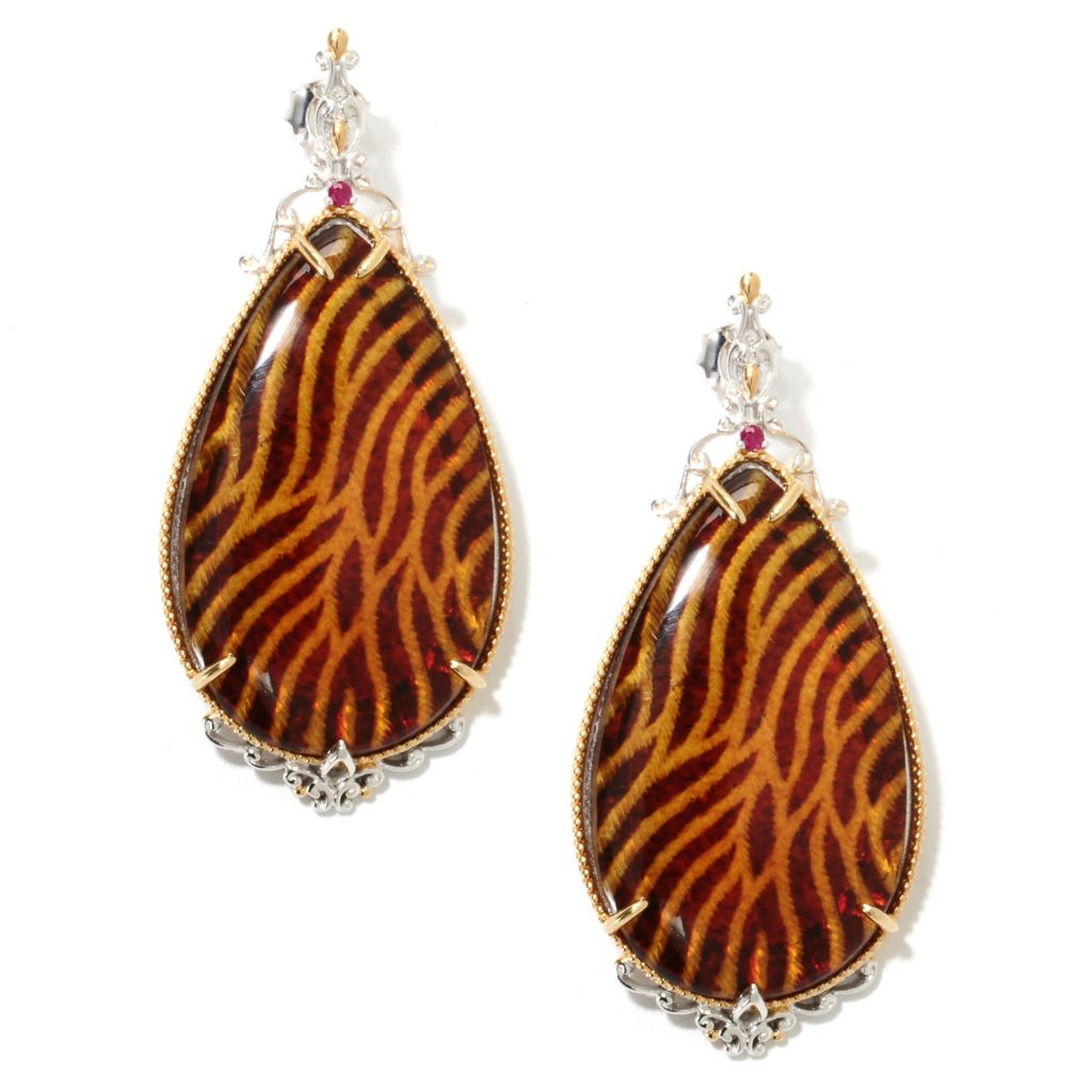 "132-632 - Gems en Vogue II 2.25"" Carved Amber Animal Print Intaglio & Ruby Teardrop Earrings"