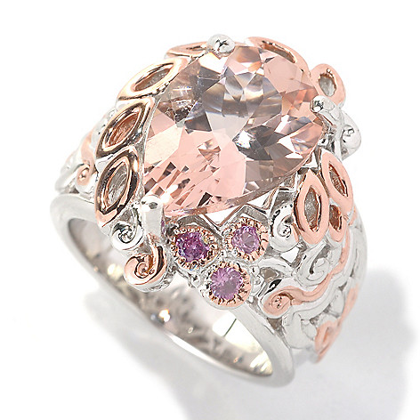 132-633 - Gems en Vogue II 5.36ctw Pear Shaped Morganite & Pink Sapphire Ring