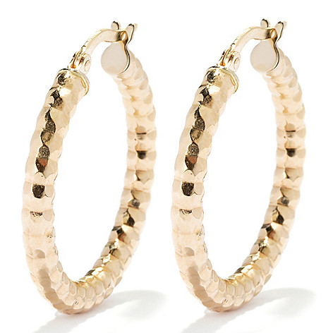 132-638 - Italian Designs with Stefano 14K Gold 1'' ''Bagliori'' Hoop Earrings