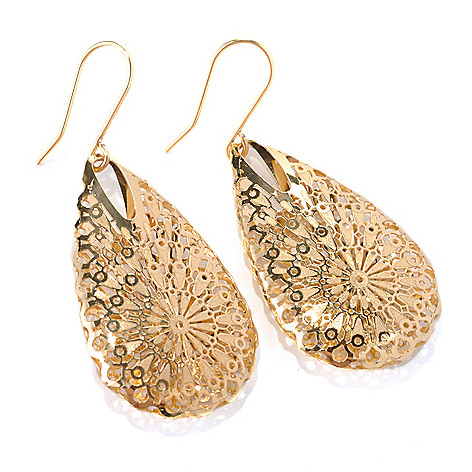 132-642 - Italian Designs with Stefano 14K Gold 1.75'' Ricami Teardrop Earrings