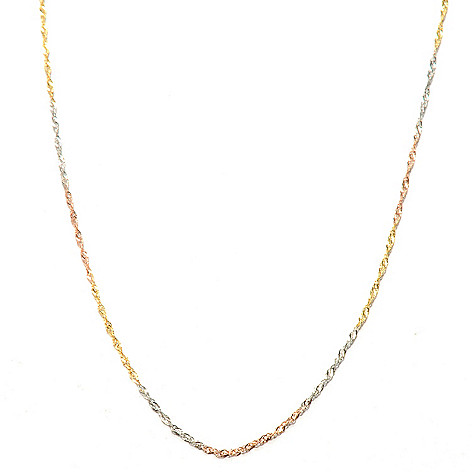 132-647 - Italian Designs with Stefano 14K Gold 20'' Diamond Cut Singapore Necklace