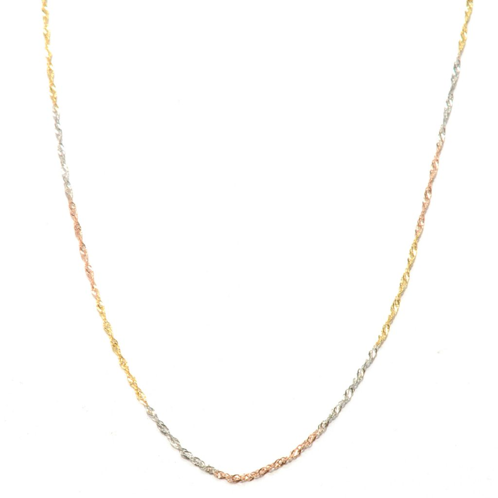 "132-647 - Italian Designs with Stefano 14K Gold 20"" Diamond Cut Singapore Necklace"