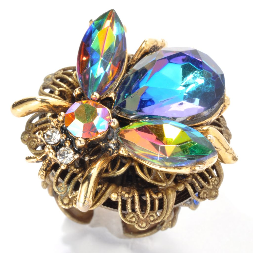 132-670 - Sweet Romance™ Filigree Crystal Bee Ring