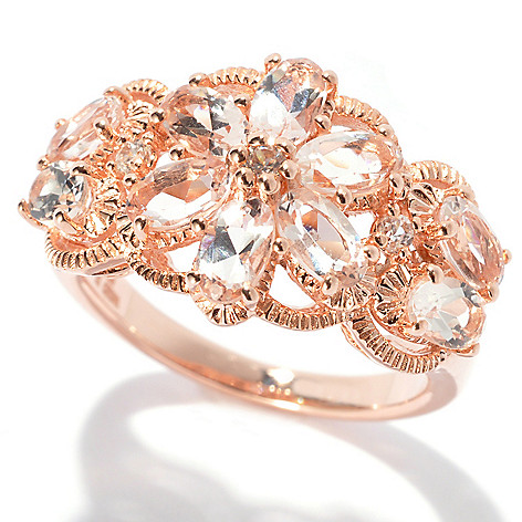 132-673 - NYC II 2.09ctw Morganite & White Zircon Flower Ring