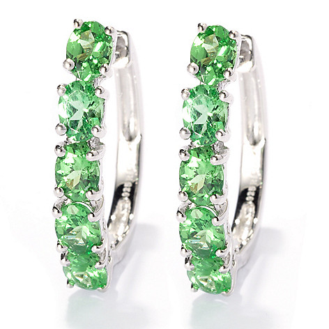 132-675 - NYC II 1.60ctw Oval Tsavorite Five-Stone Hoop Earrings