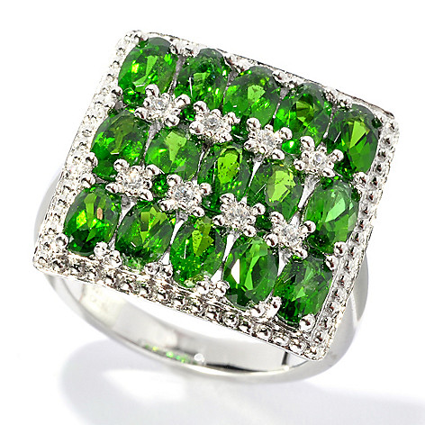 132-676 - NYC II 3.80ctw 15-Stone Chrome Diopside & White Zircon Square Ring