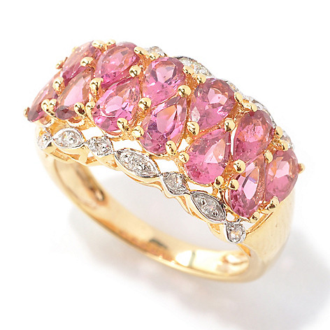 132-677 - NYC II 2.23ctw Pear Shaped Pink Tourmaline & White Zircon Band Ring