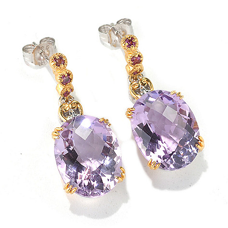 132-679 - Gems en Vogue 1.25'' 15.84ctw Checkerboard Cut Pink Amethyst & Rhodolite Earrings