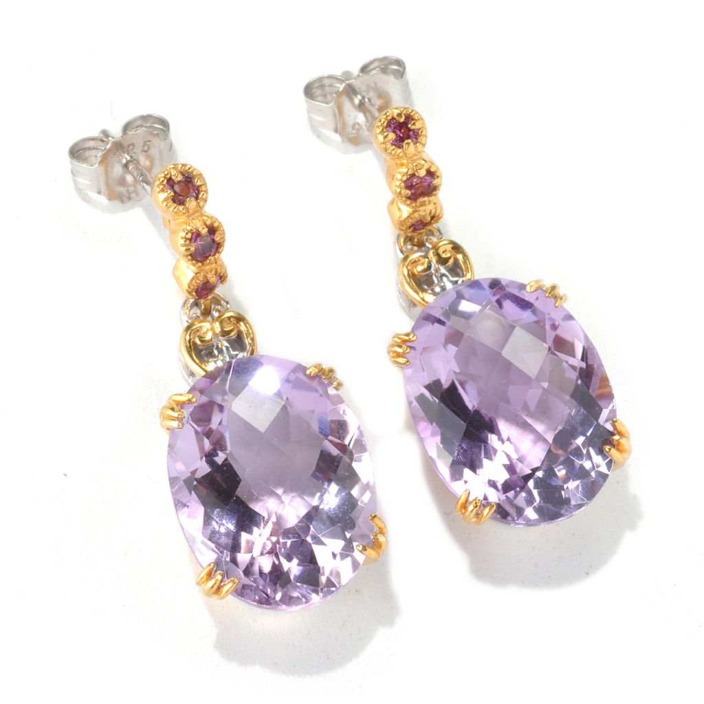 "132-679 - Gems en Vogue 1.25"" 15.84ctw Checkerboard Cut Pink Amethyst & Rhodolite Earrings"