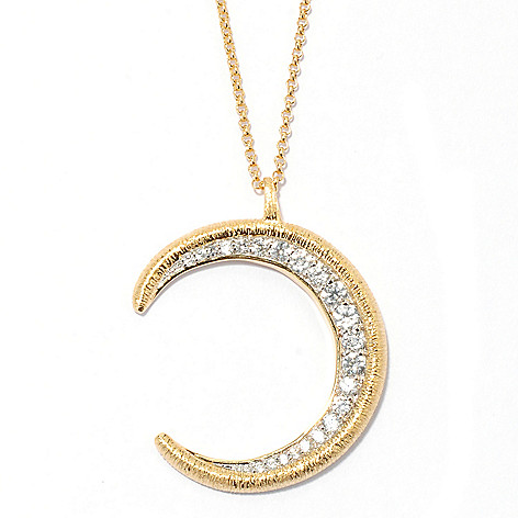 132-680 - Michelle Albala White Zircon Moon Crescent Pendant w/ 20'' Chain