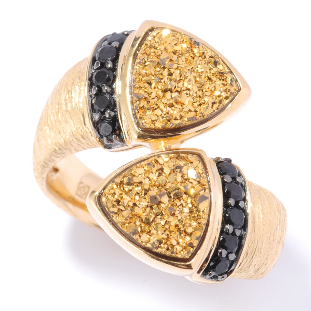 132-682 - Michelle Albala 8mm Drusy Trillion & Black Spinel Brushed Bypass Ring
