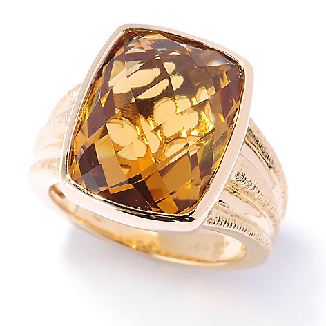 132-684 - Michelle Albala 8.40ctw Checkerboard Cut Honey Citrine Brushed Ring
