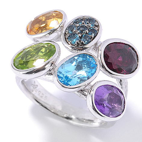 132-685 - Michelle Albala 4.84ctw Multi Gemstone Tilted Oval Brushed Ring