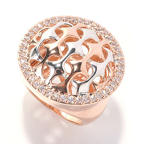 132-690 -  Bergio Two-tone Round Simulated Diamond Woven Design Ring