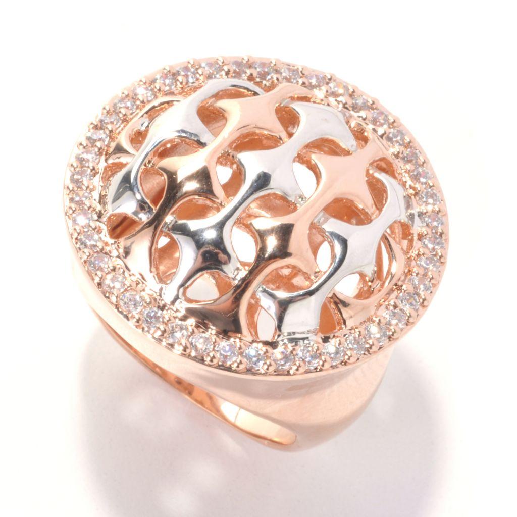 132-690 -  Bergio Two-tone Round Simulated Diamond Woven Design Ring
