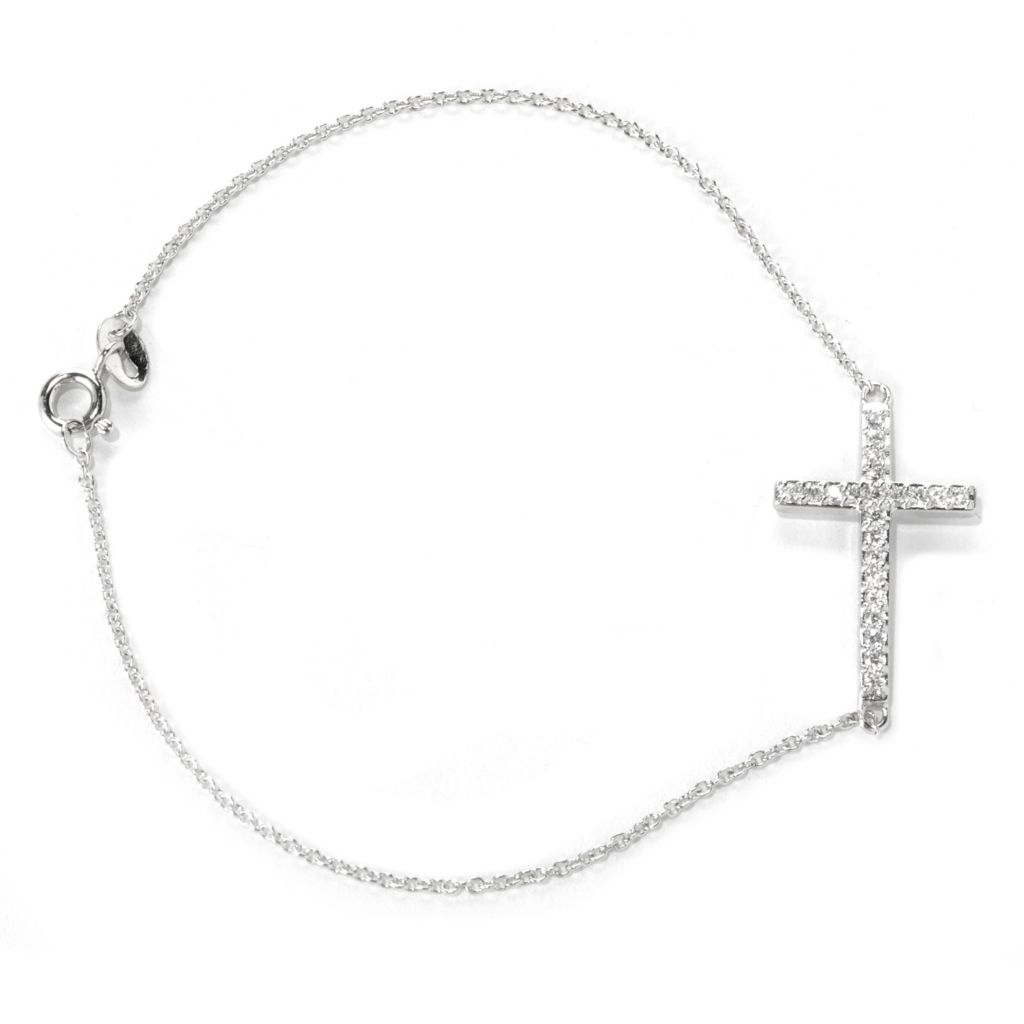 132-691 - Brilliante® Platinum Embraced™ Simulated Diamond Cable Link Symbol Bracelet