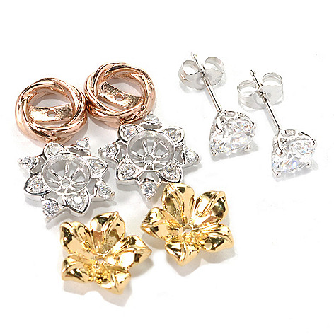 132-693 - Brill® Set of Three Simulated Diamond Interchangeable Jackets w/ Round Stud Earrings