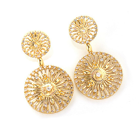 132-695 - Bergio 18K Gold Embraced™ Simulated Diamond 1.75'' Double Disk Drop Earrings