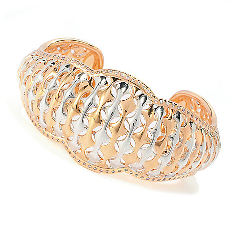 132-699 - Bergio Two-tone 1.47 DEW Simulated Diamond Woven Design Wide Cuff Bracelet