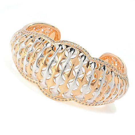 132-699 - Bergio Two-tone 1.47 DEW Simulated Diamond Woven Design Wide Cuff Bracelet