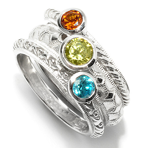 132-703 - Brilliante® Set of Three Colored Simulated Diamond Stackable Band Rings