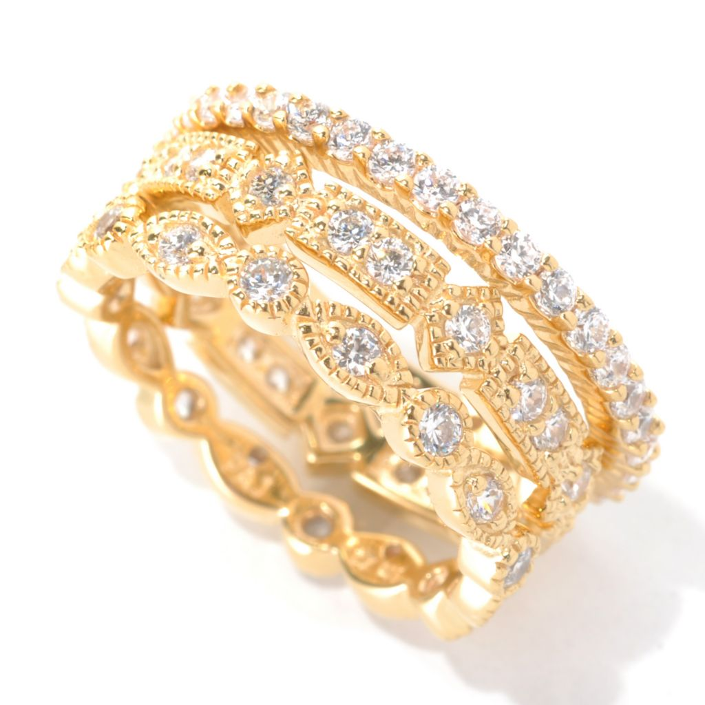 132-710 - Brilliante® Set of Three Round Bezel & Pave Simulated Diamond Stack Rings