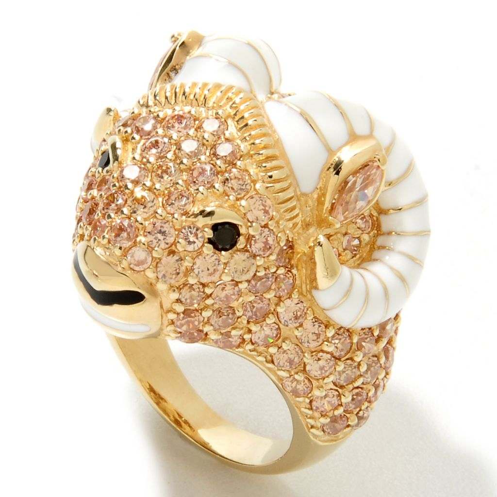 132-715 - Neda Behnam Gold Embraced™ 7.47 DEW Champagne & Black Simulated Diamond Ram Ring