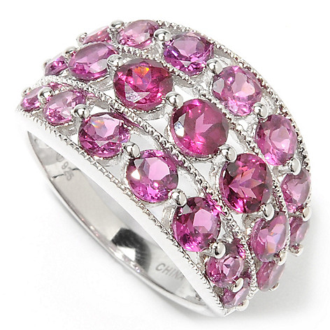 132-718 - Gem Insider Sterling Silver Round Cut Gemstone Three-Row Ring