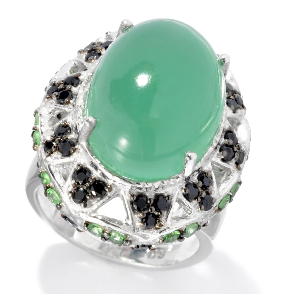 132-724 - Gem Insider Sterling Silver Green Chalcedony, Tsavorite & Spinel Dome Ring