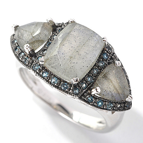 132-730 - Gem Insider Sterling Silver 9 x 7mm Labradorite & Blue Topaz Three-Stone Ring
