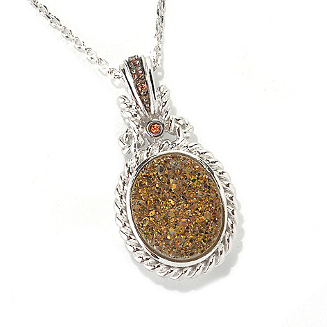 132-733 - Gem Insider Sterling Silver 12 x 10mm Mocha Drusy & Brown Zircon Pendant