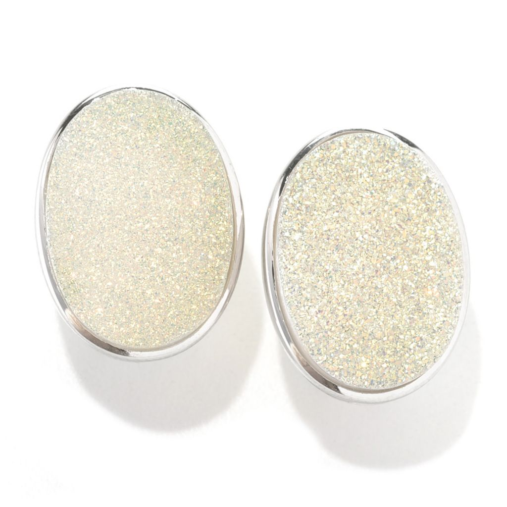132-737 - Gem Insider Sterling Silver 18 x 13mm Snow Opal Drusy Earrings